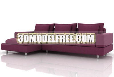 Furniture 3D Model: Dark Reddish Couch
