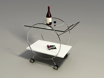 Furniture 3D Model: Glass and Wrought Iron Coffee Table