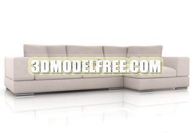 Furniture 3D Model: Modern Style Creamy Sofa Combination 3Ds Max Model
