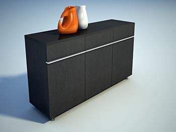 Furniture 3Ds Max Model: Black Vestibule Cabinet 3Ds Max Model