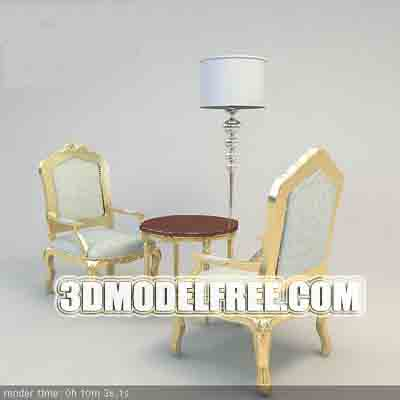 Furniture Model: A Pair of Creamy Armchairs and a Coffee Table 3D Model