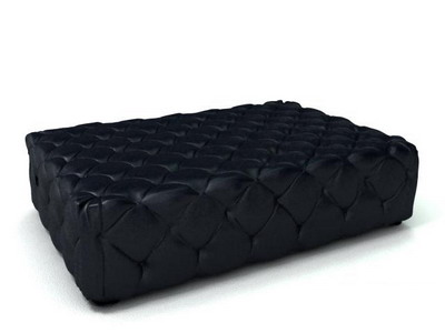 Furniture Model: Black Fabric Ottoman 3Ds Max Model