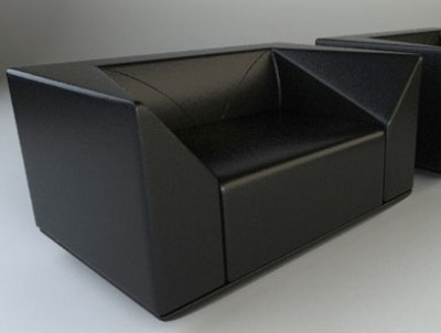 Furniture Model: Black Leather Sofa 3Ds Max Model
