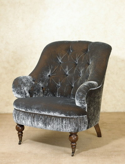Furniture Model: Black Velvet Armchair 3D Model
