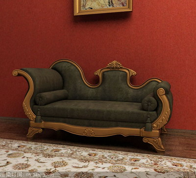 Furniture Model: Black Victorian Chaise Lounge 3D Model
