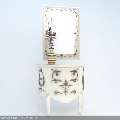 Furniture Model: Country Style Foyer Drawer Dresser 3D Model