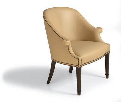 Furniture Model: Creamy Victorian Leather Armchair 3D Model