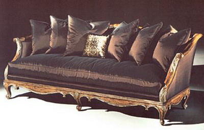 Furniture Model: Deluxe Black Fabric Sofa and Cushions 3D Model
