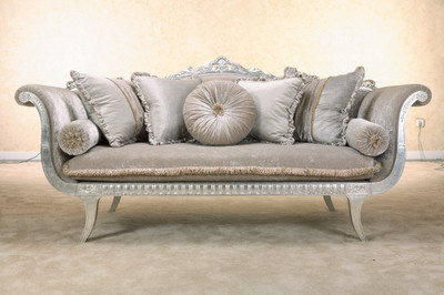 Furniture Model: Deluxe Sliver Grey Velvet Fabric Sofa 3D Model