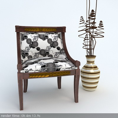 Furniture Model: Victorian Black And White Fabric Chair 3D Model