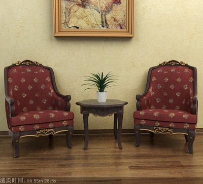 Furniture Model: Victorian Fabric Armchair 3D Model