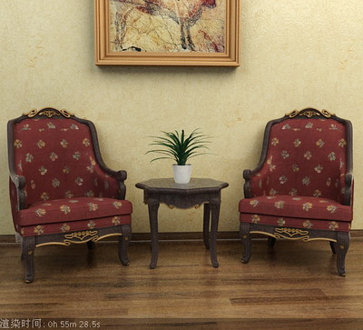 Furniture Model: Victorian Fabric Armchair 3D Model