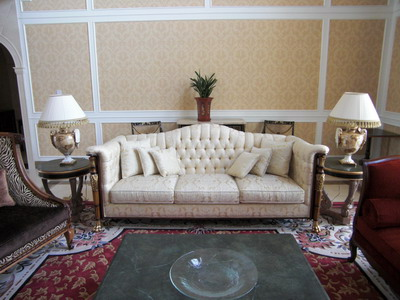 Furniture Model: Victorian White Fabric Sofa 3D Model