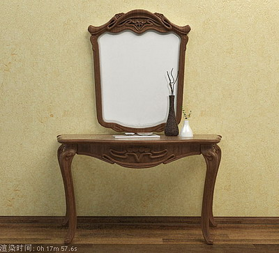 Furniture Model: Woodern Foyer Table with Mirror 3D Model