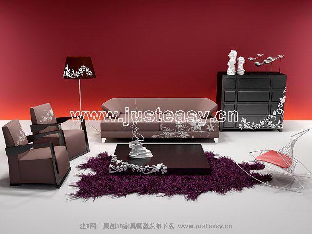 Genuine sofa modern Chinese 3D Model
