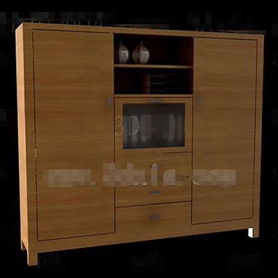 Glass and wooden doors combinations cabinet 3D Model