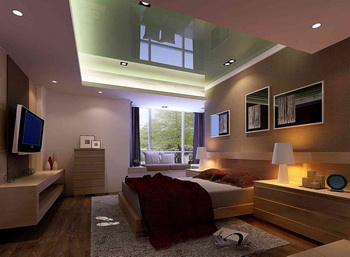 Glass ceiling spotlights surrounded bedroom 3D Model