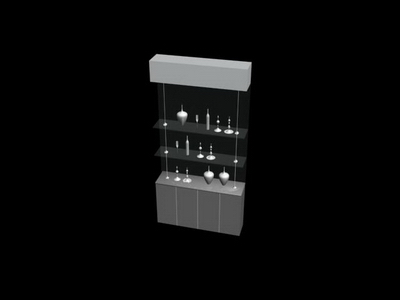 Glass Display Cabinet Collection 3D Model