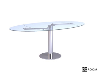 Glass surface oval table 3D Model