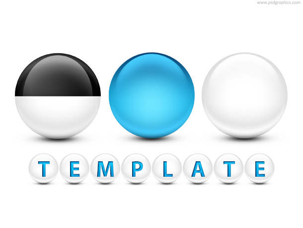 Glossy spheres with text PSD template