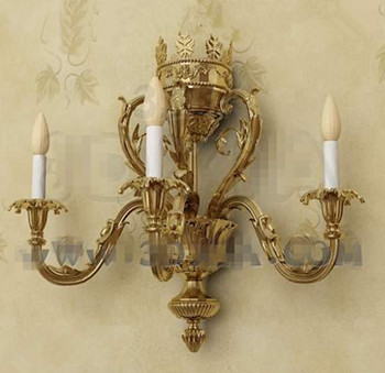 Gold metal candle holders wall lamp 3D Model