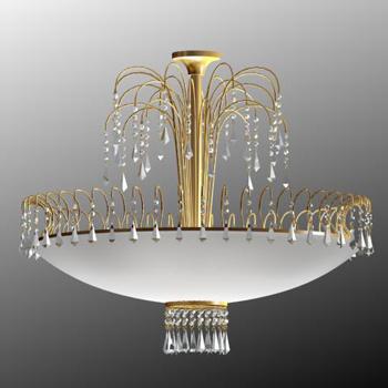Gold metal frame crystal chandelier 3D Model