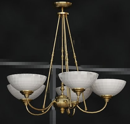 Gold metal frame white chandelier 3D Model