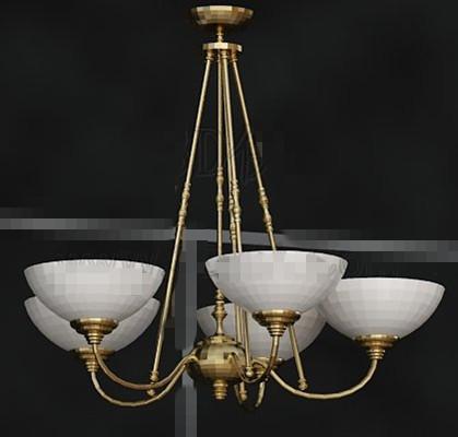 Gold metal frame white chandelier 3D Model
