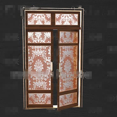 Gold-rimmed gorgeous pattern doors 3D Model