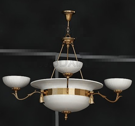 Gold side gorgeous white chandelier 3D Model