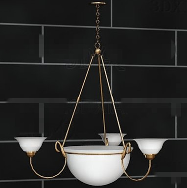 Gold side simple white chandelier 3D Model