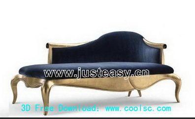 Golden chair 3D model (including materials)