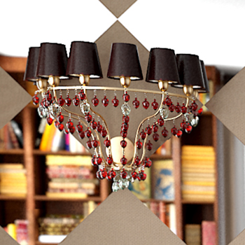 Golden crystal pendant lamp 3D Model