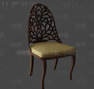 Golden cushion wooden chair 3D Model