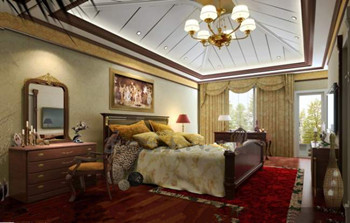 Golden decoration of luxury bedroom 3D Model