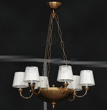 Golden tray white chandelier 3D Model