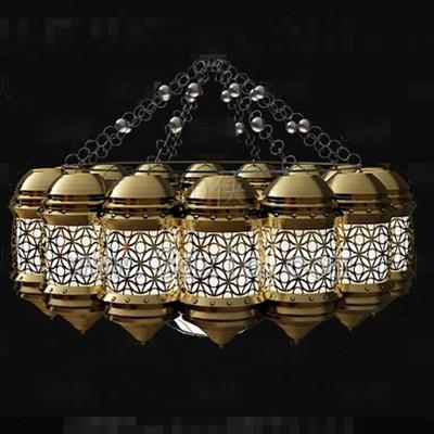 Golden white hollow combination chandelier 3D Model