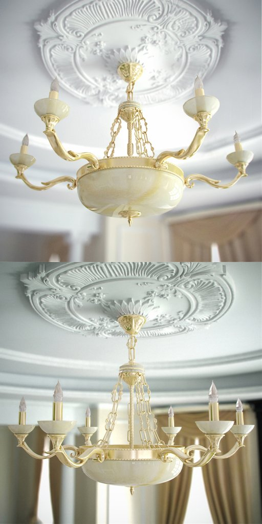 Gorgeous chandelier stone surface 3D Model