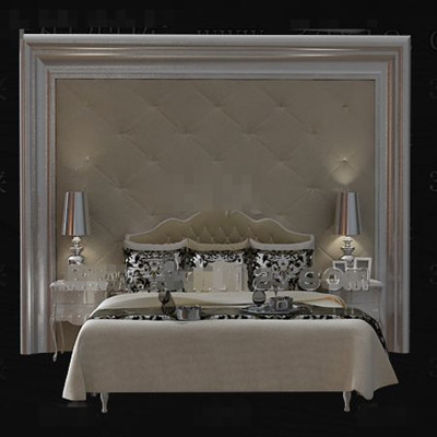Gorgeous cortical beige double bed 3D Model