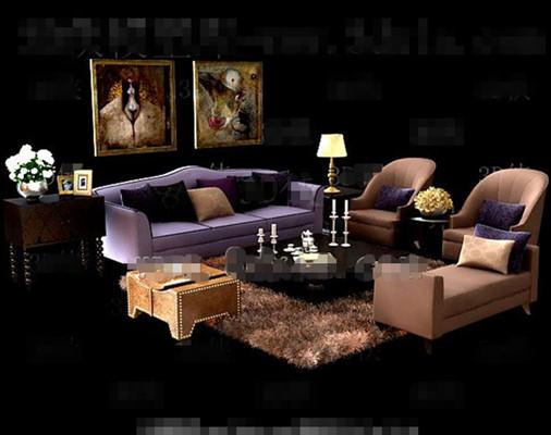 Gorgeous purple sofa combination 3D Model