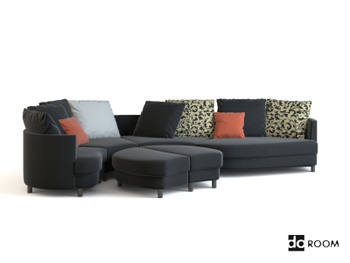 Gray and black fabric combination sofa 3D Model