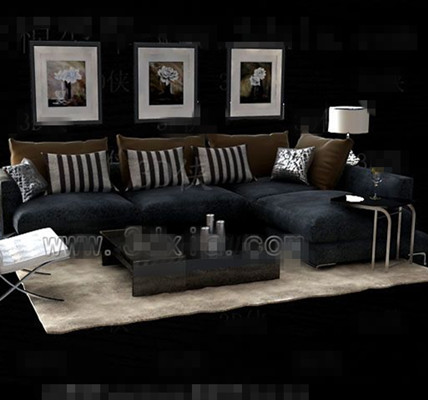 Gray and black fabric sofa combination 3D Model