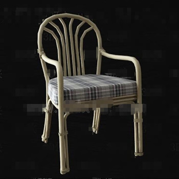 Gray and white checkered seat rattan chair 3D Model