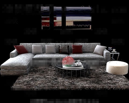 Gray comfortable fabric sofa combination 3D Model