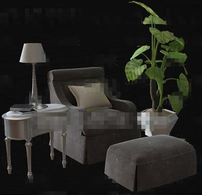 Gray comfortable single sofa combination 3D Model