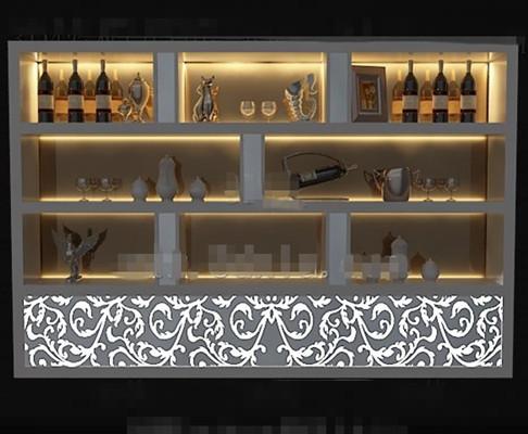 Gray golden light wine cabinet 3D Model