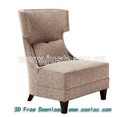 Gray high back sofa 3D model (including materials)