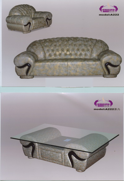 Gray pattern sofa and coffee table home 3D Model