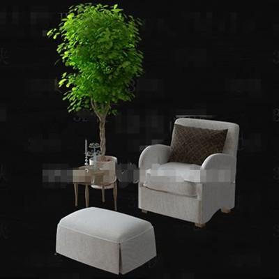 Gray single simple sofa combination 3D Model