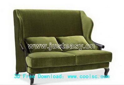 Green fabric sofa 3D model (including materials)